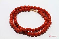 Mediterranean Red Coral Necklace round mush 6½-7½mm in Gold 18K Collana Corallo rosso del Mediterraneo pallini mush 6½-7½mm in Oro 18K