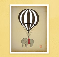 Elephant Hot air balloon Archival Art Print 12x16 nursery poster children room Illustration kids room baby, girl, boy wall decor image. $40.00, via Etsy.
