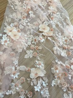 Luxury Embroidery Flower Lace Fabric Trimmings Materials Lace Mesh DIY Dance Costume Wedding Ballroom Latin Dress Tutu 47 inch Width