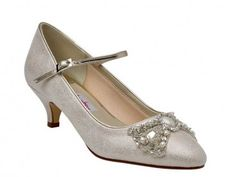 Anastacia - Low Heel Champagne Court Shoes