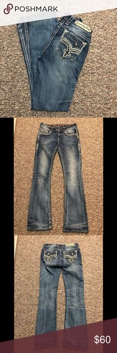 J BRAND Jeans 27 High Rise Straight Leg Destroyed Indigo Button Fly Actual 32x27