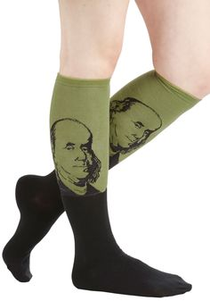 Fits the Bill Socks in Benjamin. Astutely clad in these unique socks, you earn unanimous support for your historic style. #green #modcloth