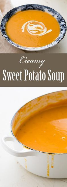 Creamy sweet potato soup with sweet potatoes, cooked in stock with onions, celery, and leeks, puréed and seasoned with cinnamon and nutmeg. On SimplyRecipes.com