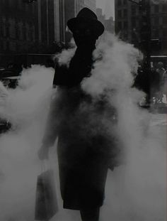"liquidnight: "" Arthur Tress Man in Steam New York, 1968 From Arthur Tress: Fantastic Voyage, Photographs "" Black White Photos, Black And White Photography, Monochrome Photography, Old Photos, Vintage Photos, Arthur Tress, Street Photography, Art Photography, Camera Photography"