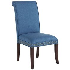 """Pier 1:  Angela Deluxe Dining Chair, Rain, 21""""W x 25.50""""D x 41""""H, $219.95  Brass nail head trim.  Note:  15% Rewards discount.  Order in store for free home delivery.  NOTE:  $189.99 SALE"""