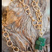 Hammered Brass and Jade necklace