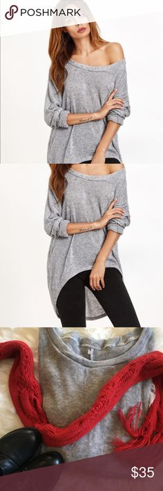 NWOT Heather Gray oversized sweater Re-Posh super cuter heather gray off the shoulder sweater. Sweater runs small that's why I'm reselling probably would work better on someone who wears a small. I bought it and never wore it. Sweaters Crew & Scoop Necks