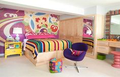 Fantastic Colorful Basement Bedroom Design: Fantastic Colorful Basement Bedroom Design With Colorful Bed And Wallpaper And Wooden Closet Design Basement Bedrooms, Kids Bedroom, Bedroom Decor, Teen Basement, Bedroom Ideas, Bedroom Designs, Bedroom Makeovers, Bedroom Wall, Basement Makeover