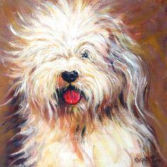 Harvey Old English Sheepdog Giclee Print Pet Portrait by korpita