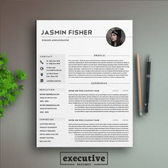 """Professional 2 Page Resume Template / CV, Cover Letter A4 & US Letter Instant Download 