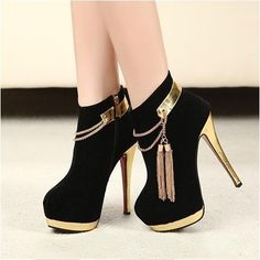 Women's #Fashion #Shoes: Exquisite Golden Sequins Closed Heel Stiletto Heel #Boots in Black with Gold Details