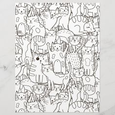 Spend some time relaxing with this coloring page for adults. You can  select paper type and size from the menu. Put the finished coloring page  in a journal or frame it to hang on your wall. Great way to destress. #zazzlemade #coloring #coloringpage #coloringpattern #scrapbook #scrapbooking #scrapbookpaper #journal #journaling #journalpage #cats Crayon Painting, Get Well Gifts, Scrapbook Paper, Scrapbooking, Doodle, Artist Gallery, Coloring Book Pages, Journal Pages, Line Art