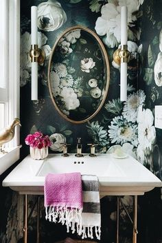 Cool accent wall idea or just cool for a bathroom off a white bedroom