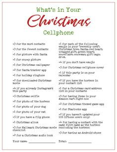 Whats In Your Phone Printable Christmas Holiday Party Game Fun Christmas Party Games, Xmas Games, Fun Party Games, Holiday Games, Xmas Party, Christmas Activities, Christmas Printables, Christmas Themes, Holiday Parties