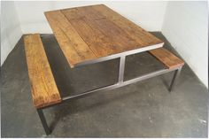Modern meets rustic... love this reclaimed table by Living Wood Design…