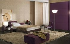 The colours we like for the bedroom. Purple accent wall = head of bed. Other walls a light beige colour, paint not paper.