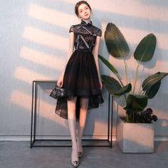 Chic   Beautiful Black Cocktail Dresses 2018 A-Line   Princess Appliques  High Neck Short ed8a3bcc1b8a