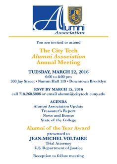 2016 Alumni Association Annual Meeting invitation.