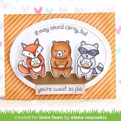 """""""There's nothing corny about Elena's """"sweet as pie"""" Holiday Party Animal card! #lawnfawn #lawnfawninspirationweek"""""""