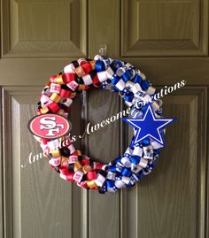 Football House Divided Wreath by AmandasCreations11 on Etsy