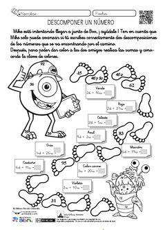 """Con la ficha """"Descomponer un número"""" realizada porMónica Bacelos ComesañadeCoruxo en Vigo (Pontevedra)se trabaja la descomposición de números de dos dígitos con dos actividades en una misma ficha. Por un lado tenemos un camino de huellas que deber completar con dos descomposiciones de los número que se va encontrando, dejando …"""