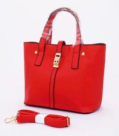 Eleonora Tote Korean Bag, elegan. Good quality. Bisa tenteng dan selempang. Warna merah. Uk 30x13x22