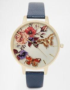 Olivia Burton - Montre à bracelet en cuir et cadran oversize avec motif floral aux tons hivernaux