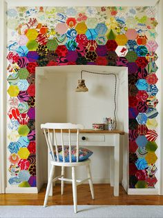 I love the desk nook and the pentagonal patchwork...could be a diy with scrap paper?