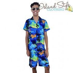 Mens Cabana Set. Mens Boardshorts & Hawaiian Shirt. Blue Sunset. Groovy outfit for luau, cruise, bucks night and group fun events.