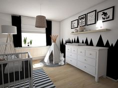 Black confetti_3D_4 Baby Bedroom, Baby Boy Rooms, Little Girl Rooms, Baby Room Decor, Baby Boy Nurseries, Nursery Room, Kids Bedroom, Nursery Inspiration, Interior Design Living Room