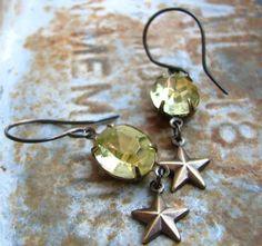 Making wishes - earrings (jewelry, earrings, metal, beads, amber, crystal, star, copper)