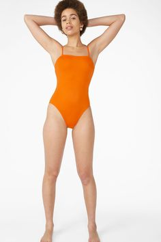 26c02d8f4e High-leg swimsuit - Two carrots orange - Swimwear - Monki SE