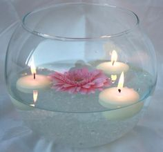 How would you choose suspended candles? Superb inspiring ideas for wedding ceremonies, activities, creating astounding focal points. Fish Bowl Centerpiece Wedding, Fishbowl Centerpiece, Floating Candle Centerpieces, Wedding Table Centres, Wedding Table Centerpieces, Unity Candle Alternatives, Flower Decorations, Wedding Decorations, Floating Flowers