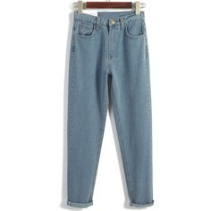 Vintage High Waist Denim Blue Pant (€17) ❤ liked on Polyvore featuring jeans, pants, bottoms and romwe