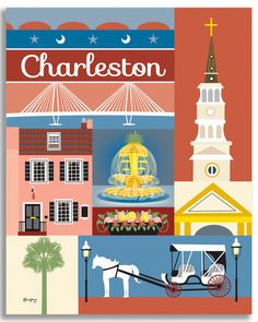 Charleston SC wall art is available in an array of finishes, materials, and sizes, this retro inspired wall art will make Charleston feel close to your heart with its bright color palette and unique d
