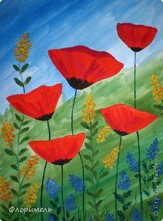 Эти обратные аппликации выполнены по рисункам Линды Клявиной, которые попались мне в Яндексе при запросе «шаблоны маков для батика». Так мне понравились эти цветы, что я решила их «раскрасить» пластилином. фото 8
