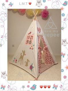 Guess how much I love you girls baby deer pink rose teepee set Large Floor Cushions, Scatter Cushions, Decorative Cushions, Teepee Play Tent, Teepee Kids, Childrens Play Tents, Rose Curtains, Bambi And Thumper, Imagination Toys