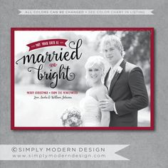 First Christmas Married And Bright Card Holiday Wedding Newlyweds New Year Printable Or Printed Cards