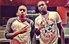 Mee Mill and Nas in the studio.