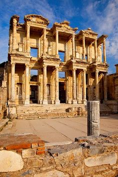 The ancient Library of Celsus in Ephesus, Anatolia, Turkey , another great site stolen from the Greeks, don't even dare to think that this was made by a Turkish hand