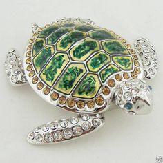 Turtle Tortoise Figurine Rhodium Swarovski Crystal Juju Palais Royal.