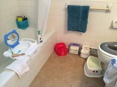 Montessori bathroom. Need to source this cool mini sink thing over the bathtub.