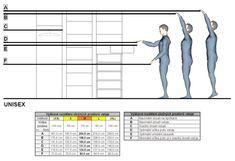 Výškové rozdělení úložných prostorů ve stoje (v cm)