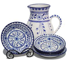 Hand-thrown and hand-painted bowls and platters and pitchers from Le Source Ceramique; a small studio on the Mediterranean coast of Tunisia.
