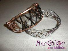 Bracelet aluminium wire and glass pearls / Bracciale in alluminio e perline in vetro - Myle's Creations