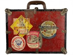 Vintage Roller Skate Carrying Case with Rink Stickers