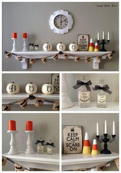 Easy DIY Halloween mantel- spooky but not scary #diy #halloween