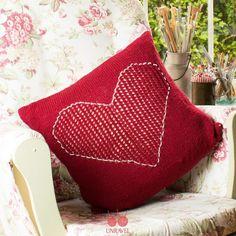 Lace Heart Cushion - Free Knitting Pattern