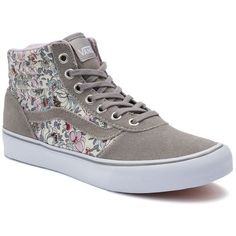 Vans Milton Women's High-Top Skate Shoes ($60) ❤ liked on Polyvore featuring shoes, sneakers, vans, dark grey, vans high tops, vans shoes, lace up shoes, high top sneakers and lace up sneakers