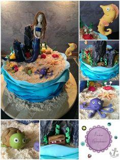 MERMAID CAKE  Meerjungfrauen Torte, Figuren und Wellen aus Modellierschokolade und Schuppenkleid aus Rice Paper.     #mermaid #meerjungfrau #torte #girly  #underthesea #underwater #kids